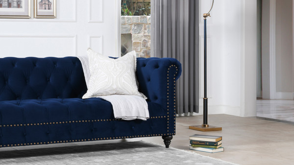 "Alto 88"" Tufted Chesterfield Sofa, Navy Blue"