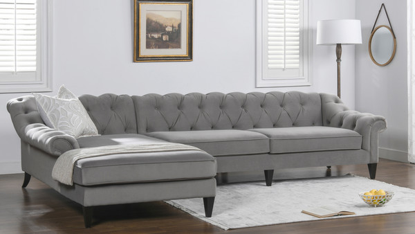 Alexandra Tufted Left Sectional Sofa, Opal Grey