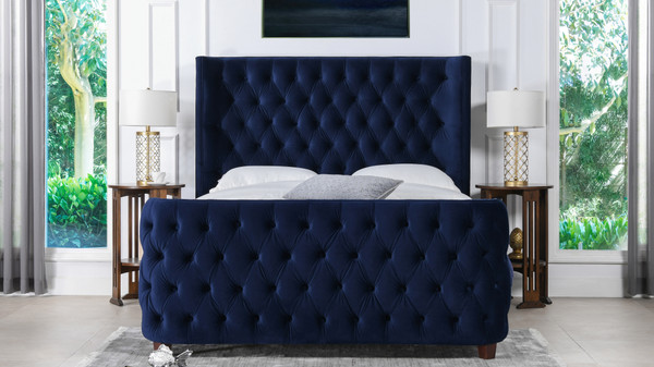 Brooklyn Tufted Bed, King, Navy Blue