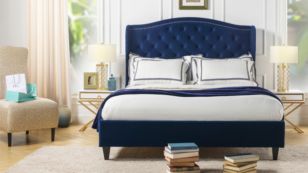 Coverley Tufted Wingback Platform Bed, King, Navy Blue