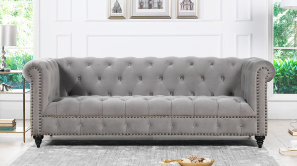 "Alto 88"" Tufted Chesterfield Sofa, Opal Grey"