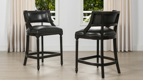 """Paris 26"""" Farmhouse Counter Height Bar Stool with Backrest, Vintage Black Brown Faux Leather"""