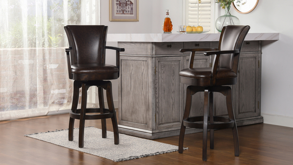 """Williams 31"""" Swivel Bar Stool with Armrests, Vintage Brown Faux Leather"""