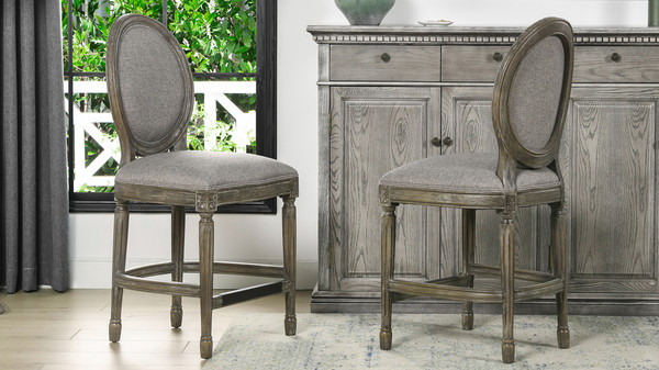 "Bella 26"" Upholstered Round Back Counter Height Bar Stool, Dark Heathered Grey Linen"