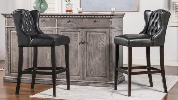 "Richmond 30"" Armless Wingback Tufted Counter Height Bar Stool, Vintage Black Brown Faux Leather"