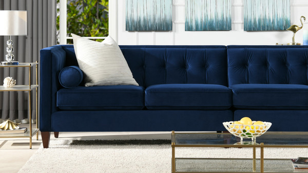 "Jack 118"" Modern Tuxedo Tufted Long Modular Sofa, Navy Blue Velvet"