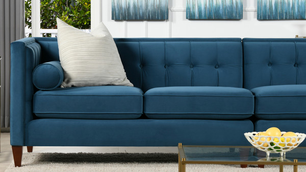"Jack 118"" Modern Tuxedo Tufted Long Modular Sofa, Satin Teal Velvet"