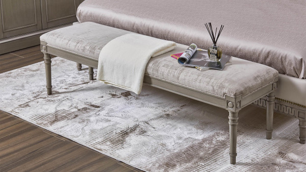 """Dauphin 60"""" Upholstered Solid Birch Wood Bench, Antique Gray"""