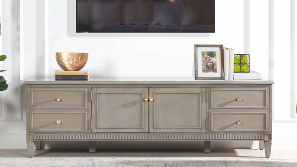 "Dauphin 71"" TV Stand Storage Console Table, Grey Cashmere"