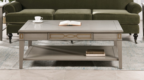 "Dauphin 50"" Rectangular Storage Coffee Table, Grey Cashmere"
