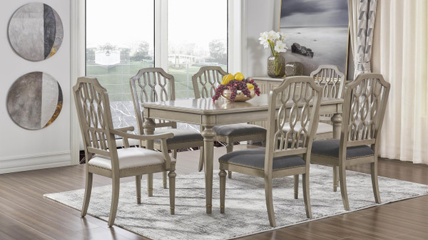 Dauphin Geometric Upholstered Dining Side Chair, Set of 2, Storm Gray & Cashmere Gray