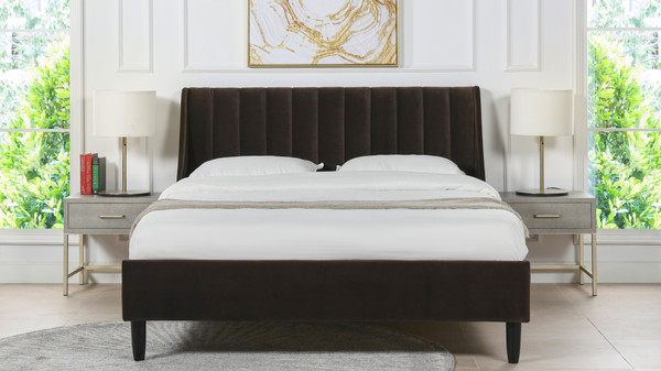 Aspen Upholstered Platform Bed, Queen, Deep Brown