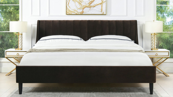 Aspen Upholstered Platform Bed, King, Deep Brown
