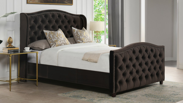 Marcella Upholstered Bed, Queen, Deep Brown