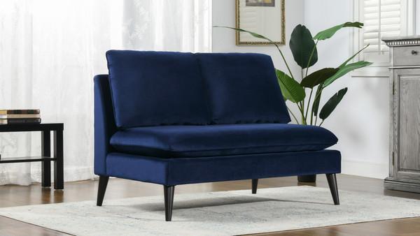 Vera Upholstered Settee, Navy Blue