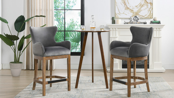 """Blake Modern 26"""" Counter-Height Barstool with Armrests, Classic Grey"""