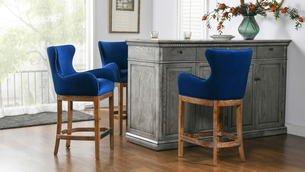 "Blake Modern 26"" Counter-Height Barstool with Armrests, Deep Blue"