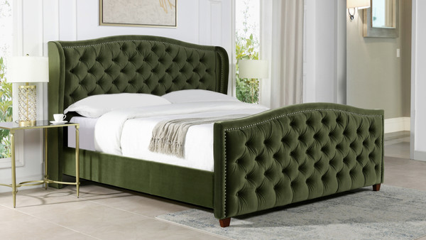 Marcella Upholstered Bed, King, Olive Green