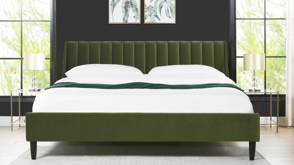 Aspen Upholstered Platform Bed, King, Olive Green