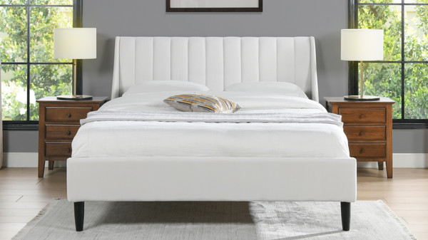 Aspen Upholstered Platform Bed, Queen, Cloud White