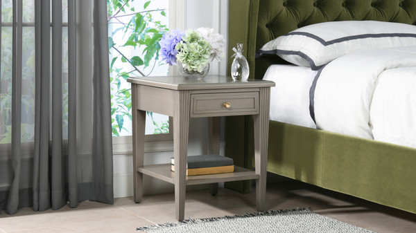 Dauphin Storage Shelf Side Table, Grey Cashmere