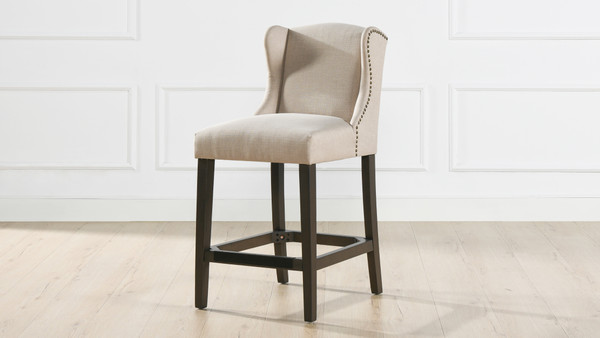 "Suzie Shelter Wingback 26"" Counter-Height Armless Barstool, Desert Beige"