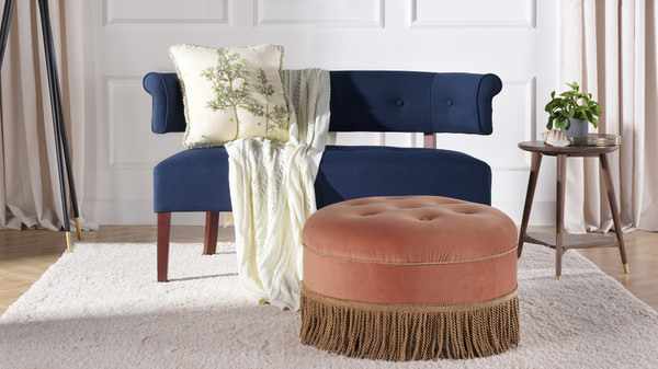 Yolanda Decorative Round Ottoman, Velvet, Peach Orange
