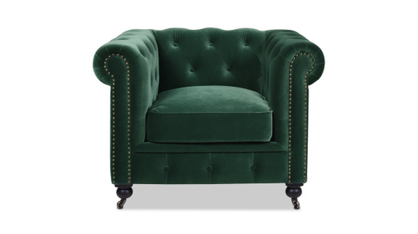 Copy of Winston Leather Chesterfield Armchair, Forest Green