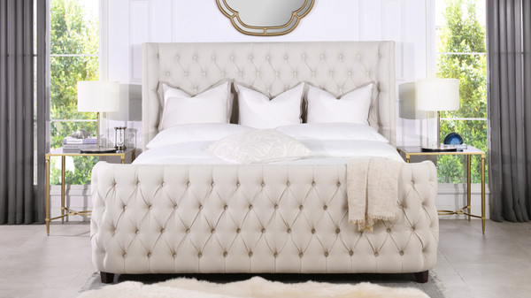 Brooklyn Tufted Bed, King, Light Beige