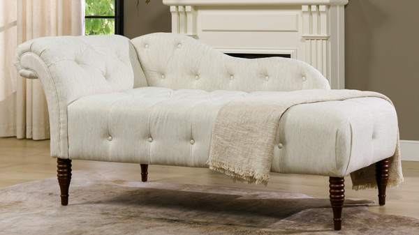 Samuel Tufted Chaise Lounge, Right Arm Facing, Natural White