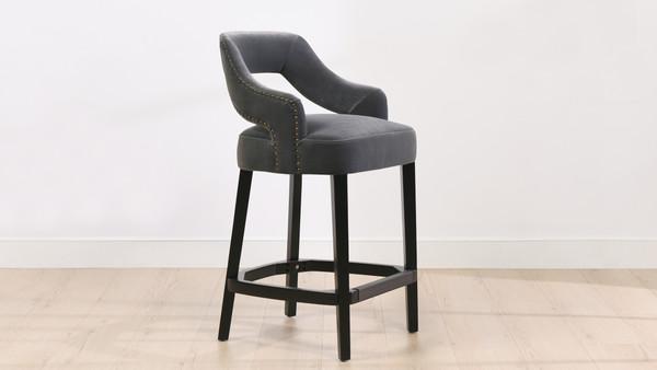 """Moderne 26"""" Upholstered Bar Stool (Set of 2), Steel Gray"""
