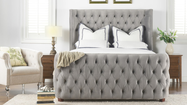 Brooklyn Tufted Bed, Queen, Opal Grey
