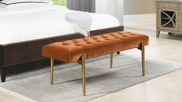 Aria Upholstered Gold Accent Bench, Burnt Orange