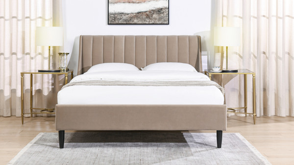 Aspen Upholstered Platform Bed, Queen, Mink Beige