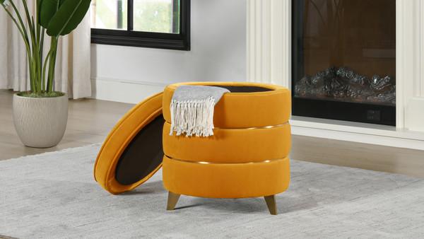 Midas Round Accent Storage Ottoman, Rich Yellow