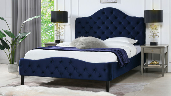 Bridget Tufted Platform Bed, Queen,  Navy Blue
