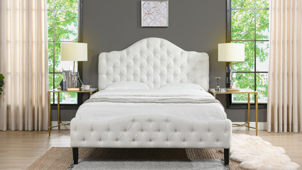 Bridget Tufted Platform Bed, Queen,  Antique White