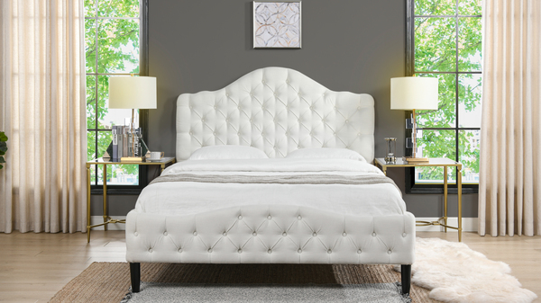 Bridget Tufted Platform Bed, Queen,  Antique White