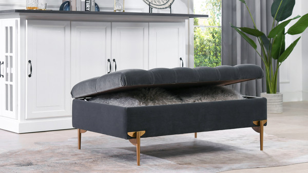 Estelle Upholstered Storage Bench Cocktail Ottoman, Steel Gray