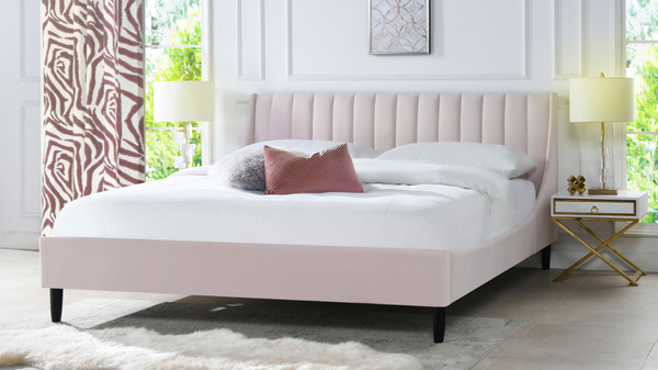 Aspen Upholstered Platform Bed, King, Light Blush Pink