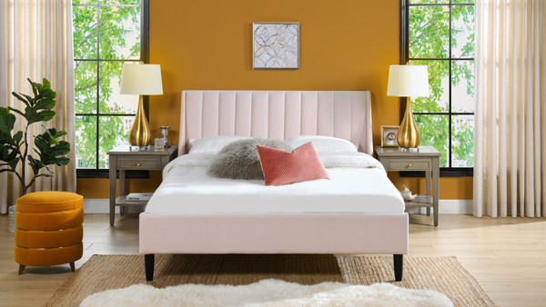 Aspen Upholstered Platform Bed, Queen, Light Blush Pink