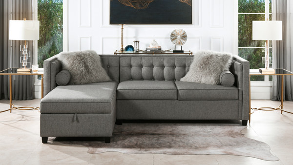 "Jack 100"" Tuxedo Sectional with Reversible Chaise and Storage, Dark Heathered Grey"