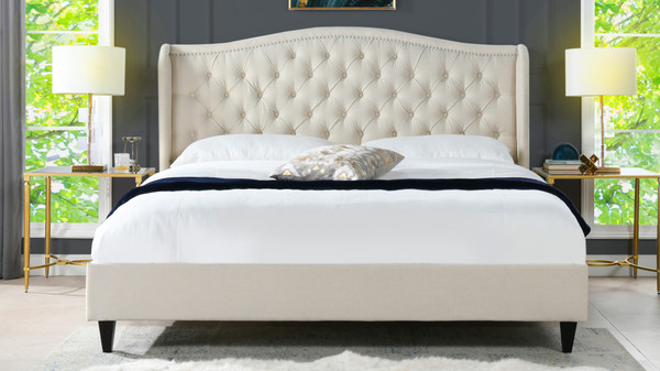 Coverley Tufted Wingback Platform Bed, King, Sky Neutral
