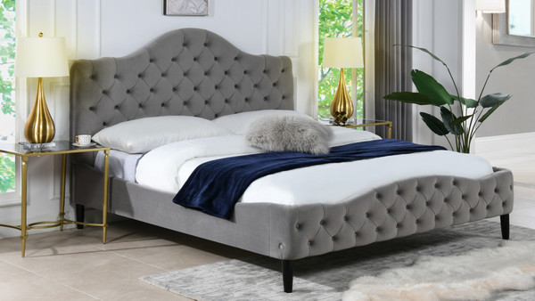 Bridget Tufted Platform Bed, King,  Opal Grey