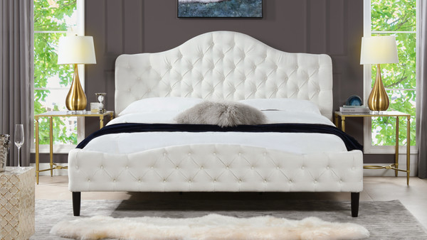 Bridget Tufted Platform Bed, King,  Antique White