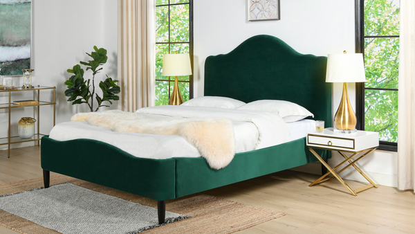 Beth Transitional Platform Bed, Queen, Evergreen