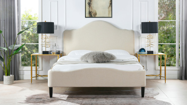 Beth Transitional Platform Bed, Queen, Sky Neutral