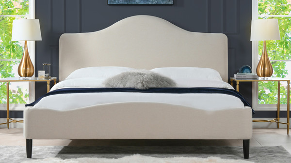 Beth Transitional Platform Bed, King, Sky Neutral