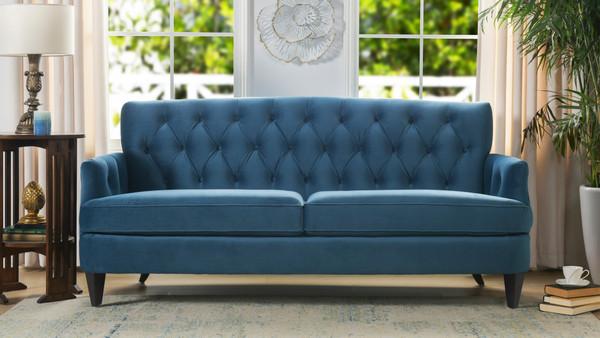 Kelly Hand Tufted Sofa, Satin Teal