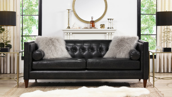 Jack Tuxedo Sofa, Vintage Black Brown